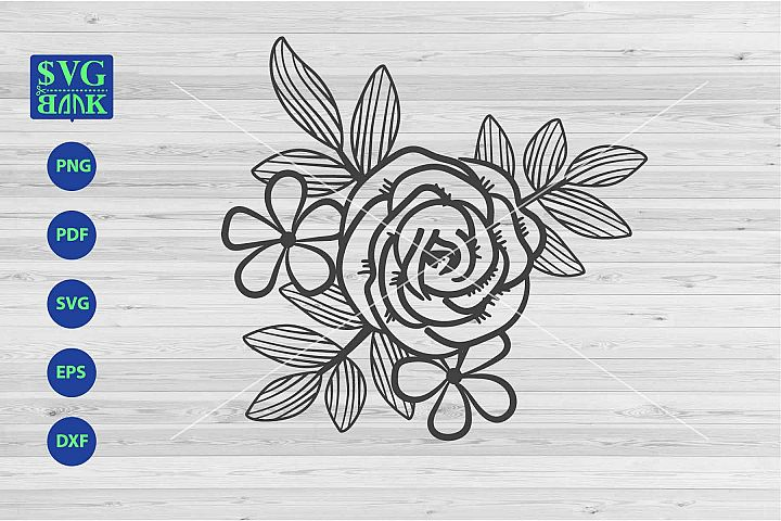 Bouquet Svg, flower corner svg, flower composition vector