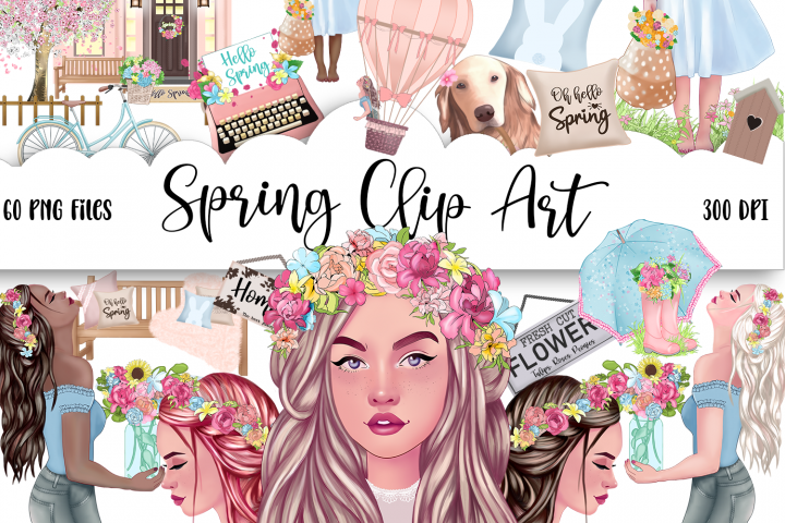 SPRING Clipart Planner FASHION Girl Clipart | Floral Planner