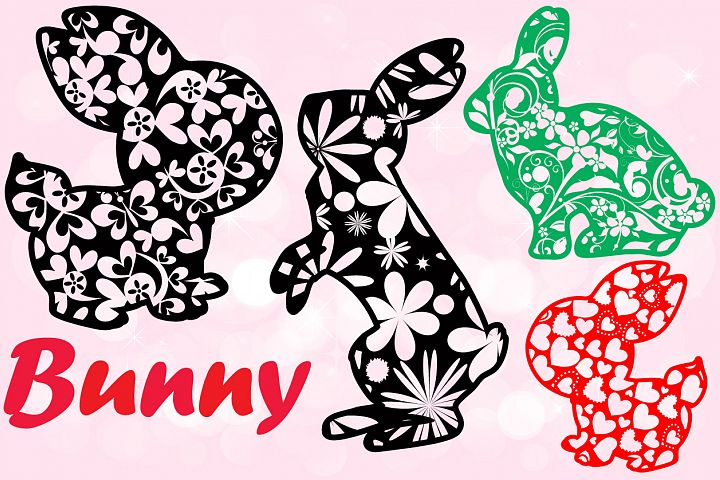 Easter bunny Flowers and hearts shirt bunny ears 636