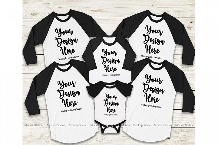 Matching Family Black Raglans Mockup, Adult Baby Toddler