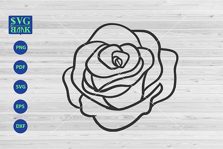 monoline Flower Svg, single flower cut file, big flower dxf