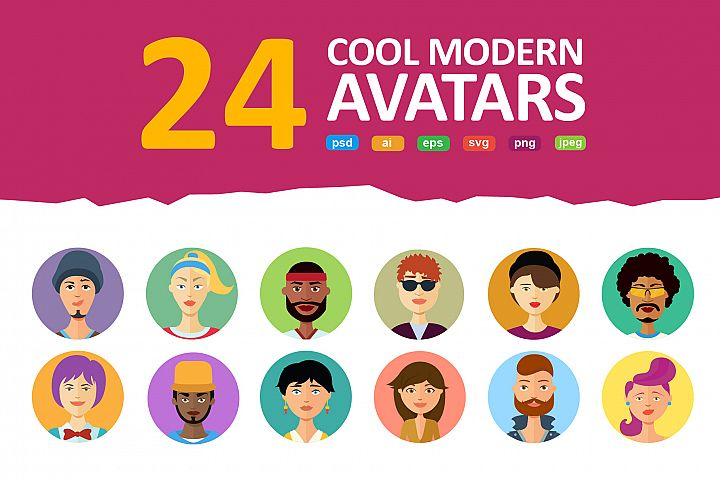 Avatars vector People Collection flat cartoon