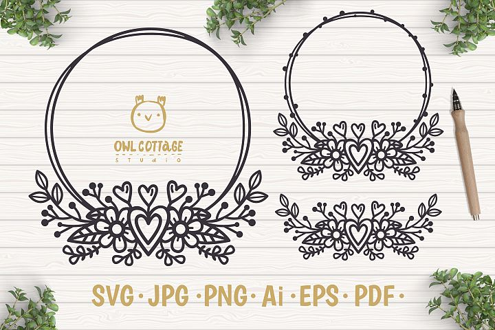 Valentines Floral Monogram cut file, Circle Flowers Wreaths