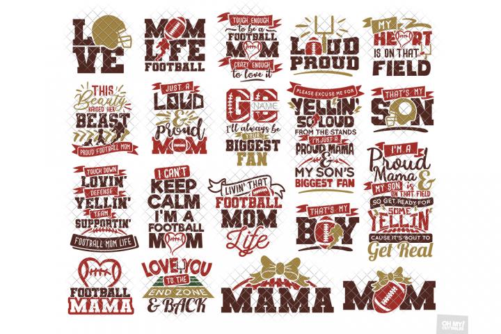 Football Mom SVG Shirt in SVG, DXF, PNG, EPS, JPG