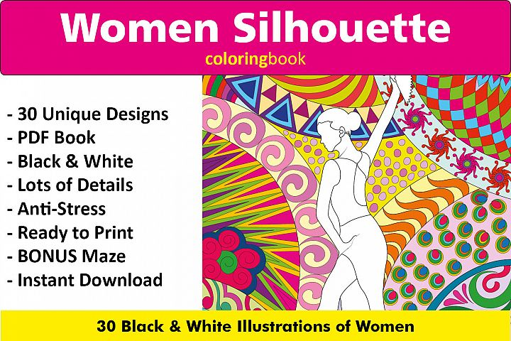 Women Silhouette Coloring Book - 30 Unique Illustrations