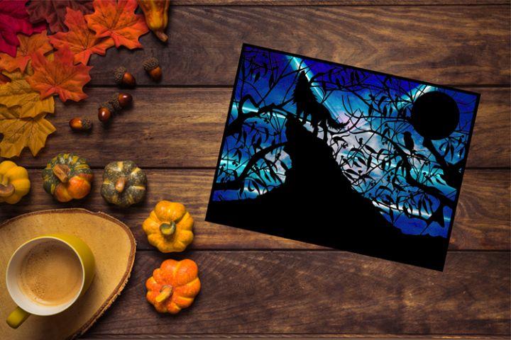 Howling Wolf Papercut Template