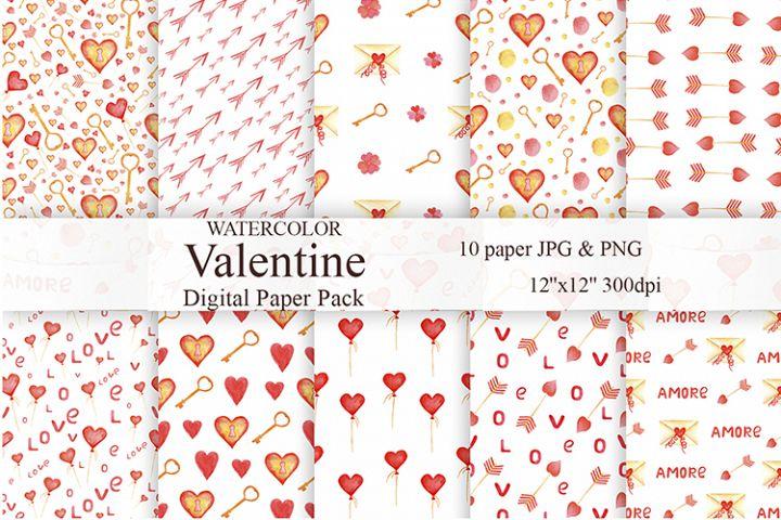 Watercolor Valentine Patterns