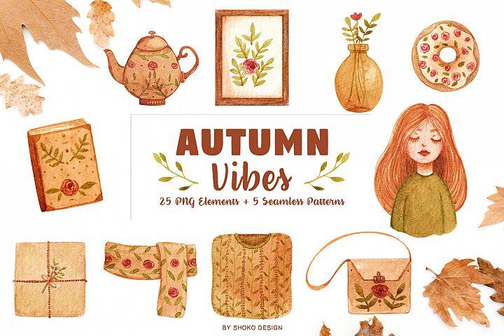 Cozy Autumn vibes handpainted watercolor set by shoko design