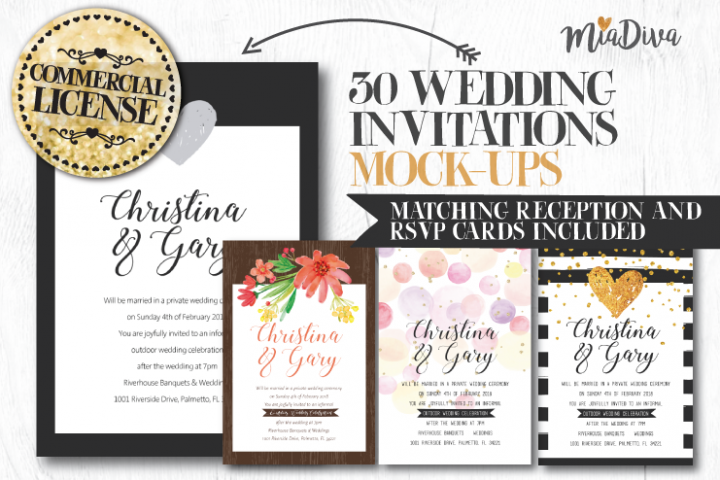 Wedding invitations layout pack