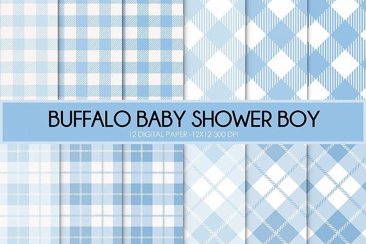 Buffalo Plaid blue boy digital paper, Buffalo plaid blue, pl