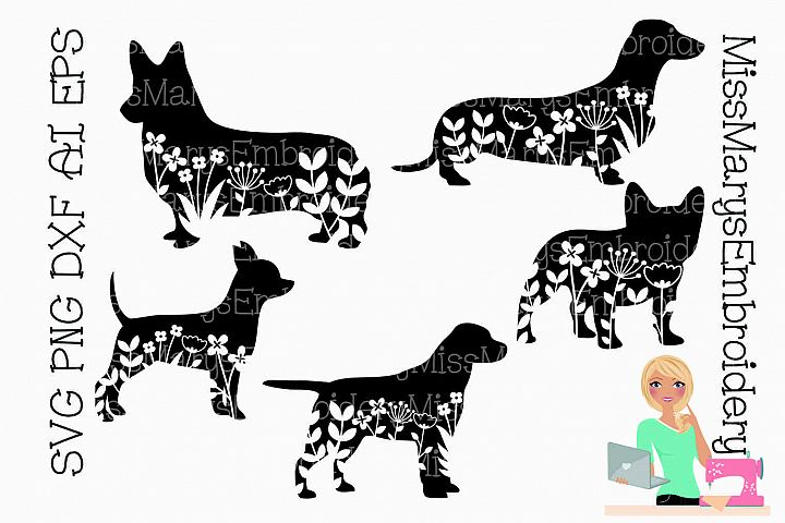 Floral Dogs SVG | Flower Dogs SVG | Dog Silhouettes SVG |
