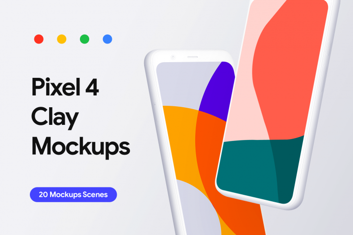 Google Pixel 4 - 20 Clay Mockups Scenes - PSD