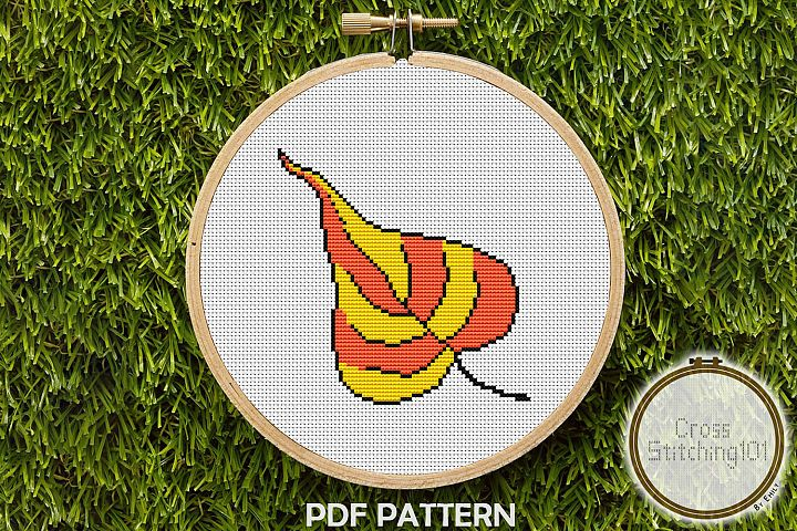 Peepal Leaf Cross Stitch Pattern - Instant Download PDF