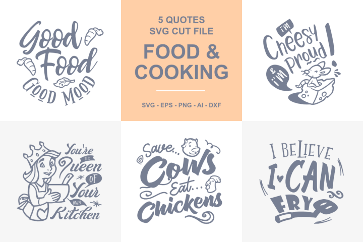 5 Cooking and Food Quotes SVG - 01