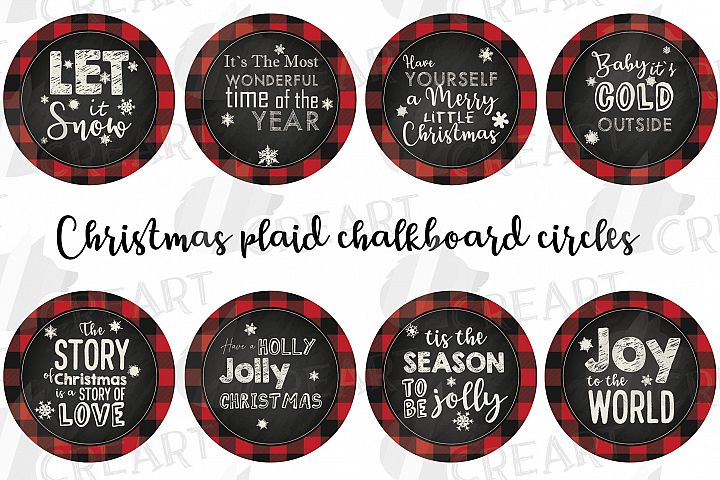 Christmas circles plaid chalkboard cards. Coaster graphic.