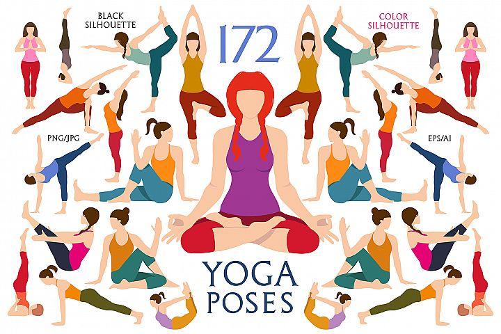 Women Yoga Silhouettes Pose. Exercises Set. Yoga postures