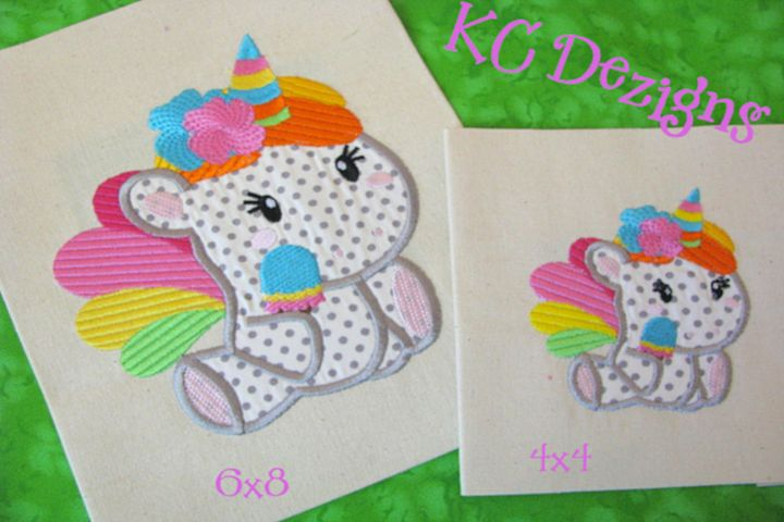 Baby Unicorn With Flowers Machine Applique Embroidery Design