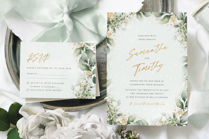 Green & Gold Wedding Invite Template