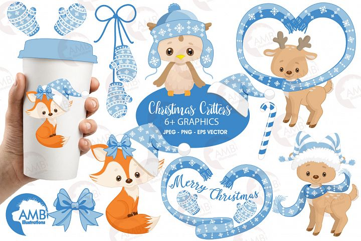 Christmas Forest critter Clipart, graphics, illustrations AMB-1515