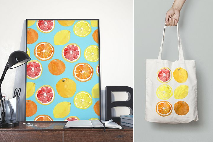 Watercolor vector citrus fruits example 6
