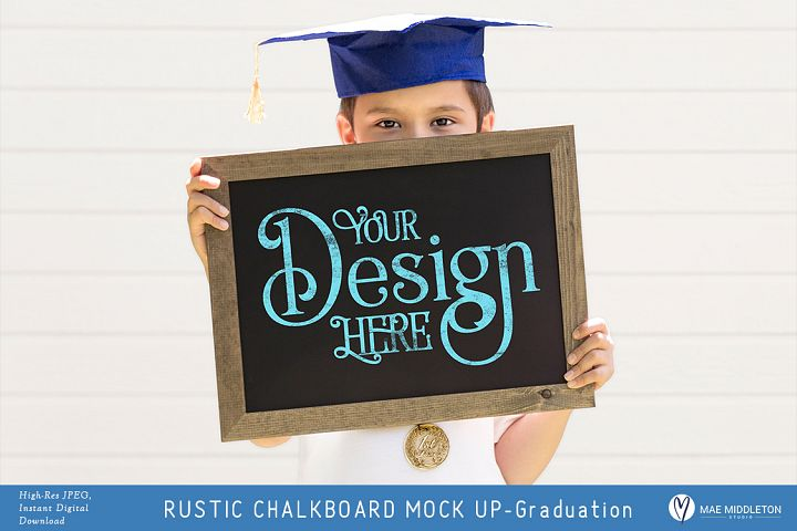 Rustic Chalkboard Mock up for Graduation, styled photo