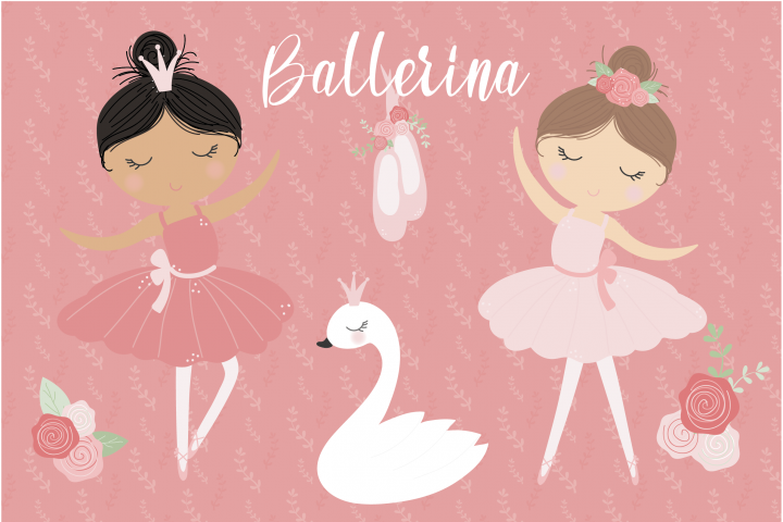 Ballerina and swans, digital clipart and paper set