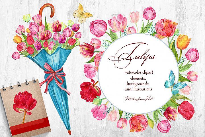 Tulips Clipart Spring, Beautiful Tulip PNG, Watercolor Tulip
