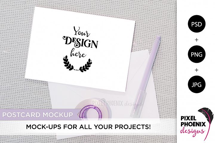 Postcard Mockup with purple accents