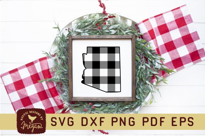 Arizona Buffalo Plaid State Home SVG DXF
