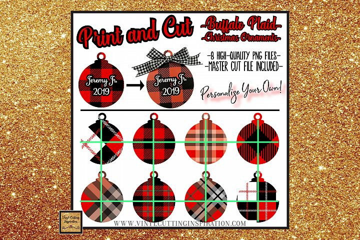 8 Buffalo Plaid Christmas Ornaments Print and Cut Svg Bundle