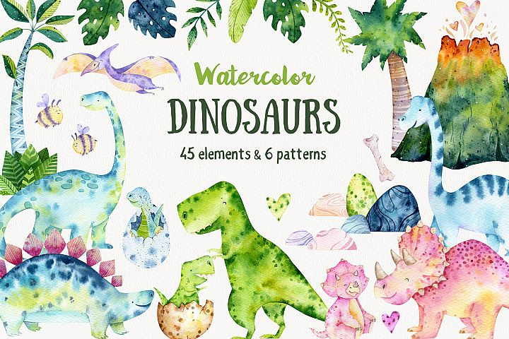 Its Dino Age! Watercolor Dinosaur Set