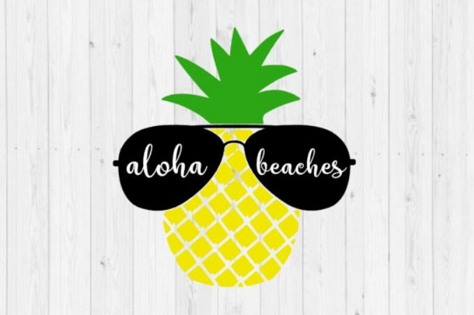 Pineapple SVG, digital download, instant download, summer svg, aloha beaches, aloha beaches SVG, beach SVG, cut file, dxf, png