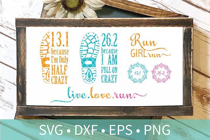 Marathon Runner Girl SVG DXF EPS PNG Clipart Cut File Bundle