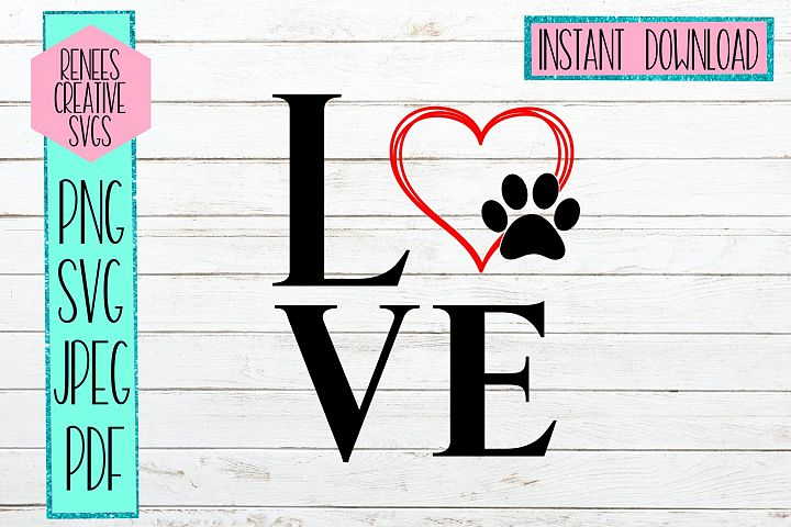 Love With Paw Print heart | LOVE | SVG Cutting File