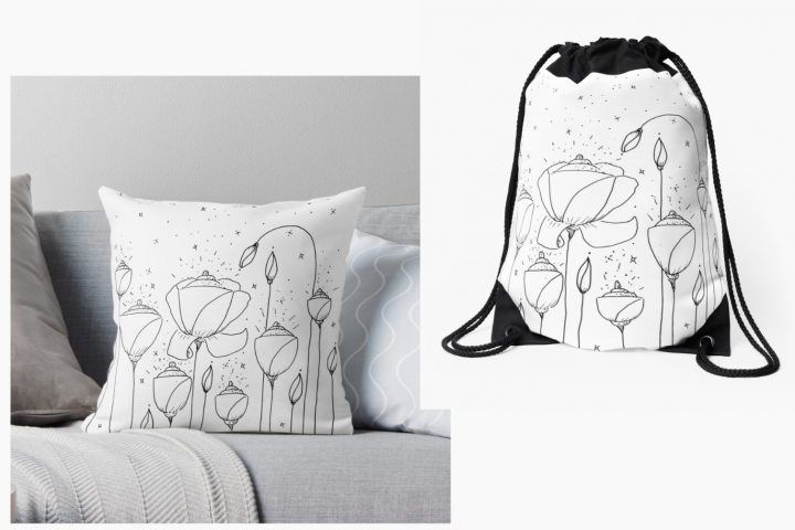 Light Flower Doodle Art, A1, SVG