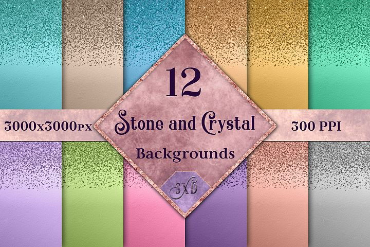 Stone and Crystal Backgrounds - 12 Image Textures Set