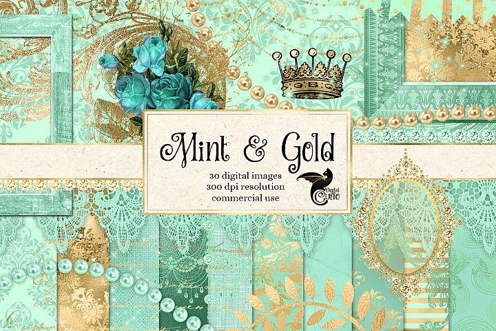 Mint and Gold Digital Scrapbooking Kit