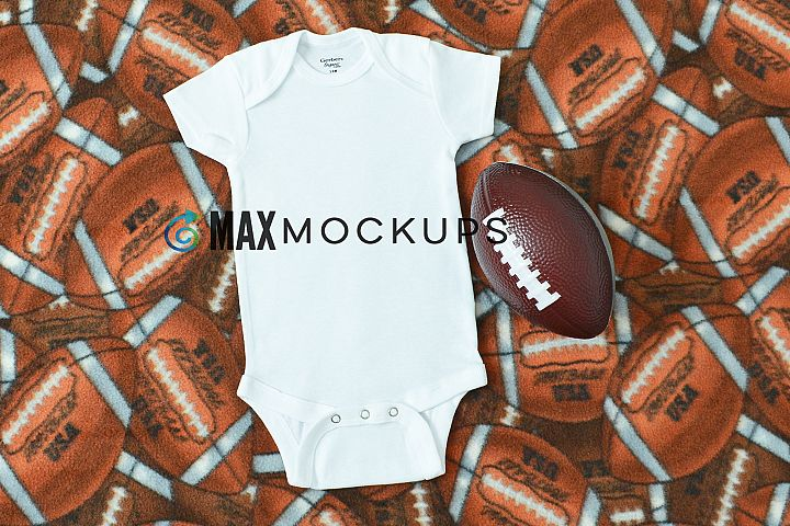 Baby bodysuit Mockup, football flatlay display, stock photo