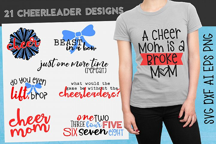 21 Fun Cheerleader Designs - SVG