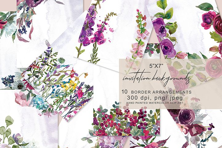 Watercolor Flowers Background Collection