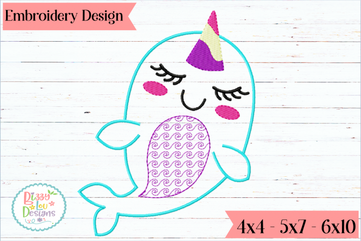 Narwhal Embroidery Applique Design