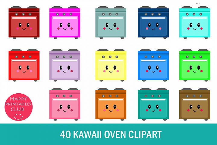 40 Kawaii Oven Clipart- Cute Oven Clipart- Transparent Oven