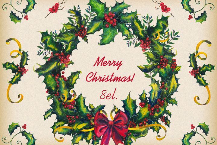 Christmas clipart, Christmas wreath, winter clipart