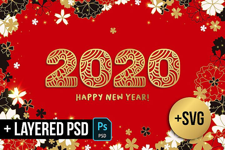 2020 New Year Numbers illustrations and backgrounds and SVG
