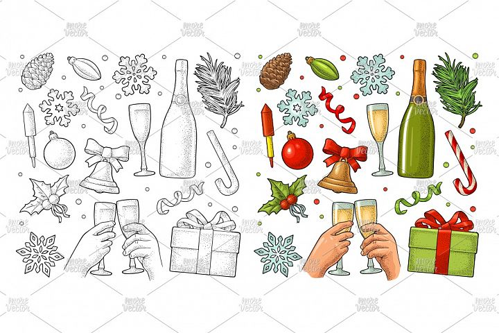 Merry Christmas and Happy New Year set Vector engraving