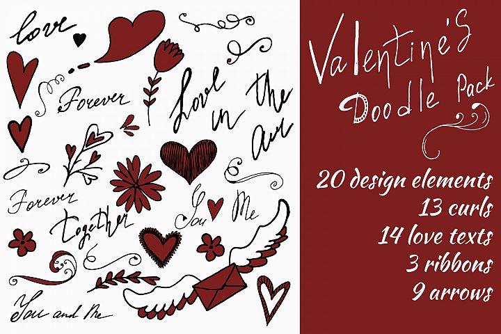 Valentines doodle set