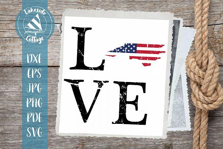 LOVE North Carolina - 4th of july svg - memorial day svg dxf