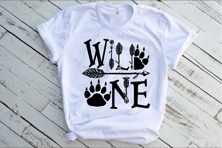 Wild One Birthday SVG Bear Paw Arrow Stay baby Nursery 1532s