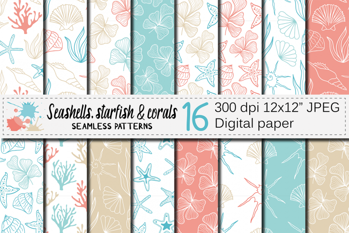 Sea life seamless patterns / Ocean hand drawn digital papers