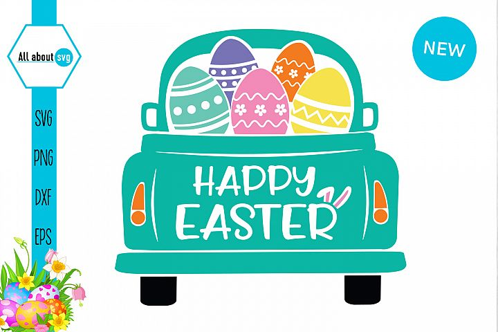 Happy Easter Truck Svg, Easter Truck With Eggs Svg